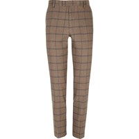 River Island Mens Ecru Checked Skinny Suit Trousers Beige