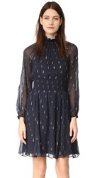 Rebecca Taylor Long Sleeve Metallic Dress Dark Navy