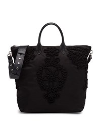 Prada Large Nylon Embroidered Tote Bag Black Nero