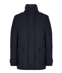 Austin Reed Wool Funnel Neck Coat Navy
