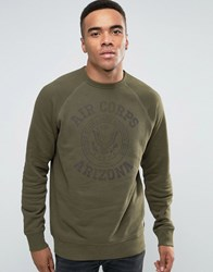 Jack And Jones Vintage Washed Crew Neck Sweatshirt With Vintage Graphic Print Khaki Green