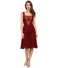 Unique Vintage Chiffon Draping Flapper La Plante Dress Burgundy Women's Dress