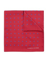 Turnbull And Asser Basic Color Dots Pocket Square Red Blue