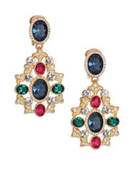Kenneth Jay Lane Multicolor Oval Filigree Drop Earrings Gold Multi