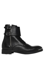 Alexander Mcqueen Leather Combat Boots W Metal Toe