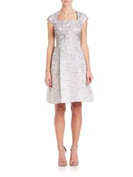 Kay Unger Metallic Jacquard Fit And Flare Dress White Silver