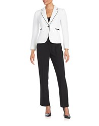 Tahari By Arthur S. Levine Petite Crepe One Button Suit White Black