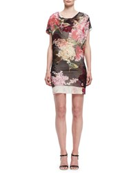 Lanvin Floral Cap Sleeve Cowl Neck Dress Black Multi Rose Print