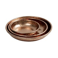 Nordal Shiny Hammered Copper Trays Set Of 3