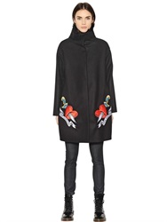 Love Moschino Embroidered Wool Felt And Faux Fur Coat