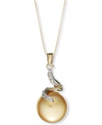 Macy's 14K Gold Necklace Cultured Golden South Sea Pearl 12Mm And Diamond Accent Pendant