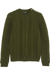 Balmain Cable Knit Wool Sweater Army Green