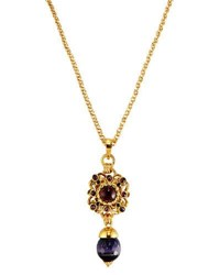 Jose And Maria Barrera Purple Crystal Pendant Necklace