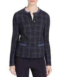 Basler Check Tweed Jacket Gray Blue