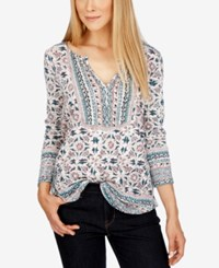 Lucky Brand Mixed Print Peasant Top Green Mult