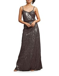 Donna Morgan Sequin Spaghetti Strap Gown Grey Ridge