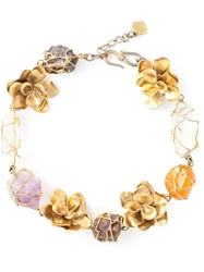 Yves Saint Laurent Vintage Floral Necklace Metallic