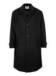 Topman Black Oversized Wool Rich Overcoat