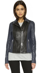 Vince Colorblock Leather Moto Jacket Black Blue Marine