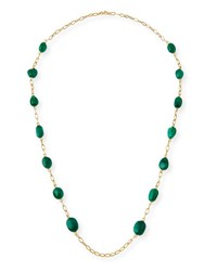Goshwara Emerald Station Necklace In 18K Yellow Gold 35