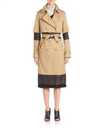 Maison Martin Margiela Fur Collar Trench Coat Camel