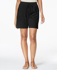 Karen Scott Petite Drawstring Knit Shorts Only At Macy's Deep Black