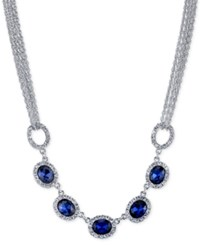 2028 Silver Tone Blue Crystal Multi Chain Collar Necklace