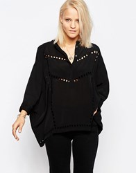 Religion Ultimate Kaftan Blouse With Embroidery Detail Black