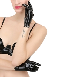 Atsuko Kudo Studded Latex Wrist Gloves Black