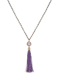 Macy's Ali Khan Gold Tone Purple Bead And Tassel Pendant Long Necklace