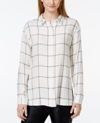 Stoosh Juniors' Plaid Button Front High Low Shirt White Black