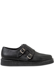 Underground Double Monk Leather Loafers Black