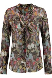Valentino Pussy Bow Printed Silk Chiffon Blouse Red