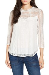 Leith Women's Embroidered Lace Top