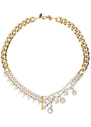 Iosselliani Cubic Zirconia Gold Tone Necklace