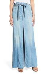 Women's 7 For All Mankind Belted Denim Maxi Skirt Amalfi Sea