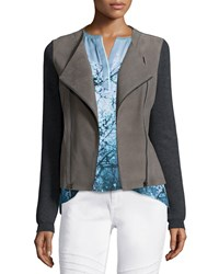 Elie Tahari Joplin Leather And Wool Jacket Men's Size Medium Sharkfin