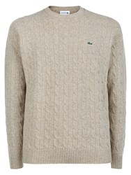 Lacoste Crew Neck Cable Knit Sweater Cream