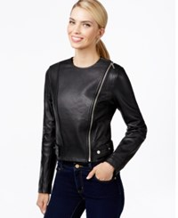 Michael Michael Kors Side Zip Fitted Leather Jacket