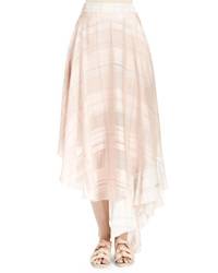 Stella Mccartney Silk Plaid Full Ruffle Skirt