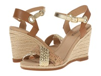 Sperry Saylor Woven Metallic Cork Gold Natural Women's Wedge Shoes