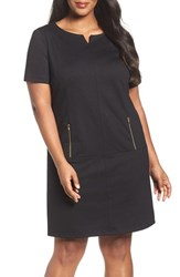 Tahari Plus Size Women's Zip Pocket Ponte Shift Dress
