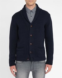 M.Studio Inactive Navy Antonin Shawl Collar Wool Blend Cardigan
