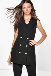Boohoo Sleeveless Double Breasted Blazer Black