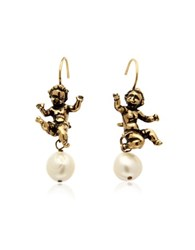 Alcozer And J Naughty Children Gold Plated Brass And Glass Pearl Earrings