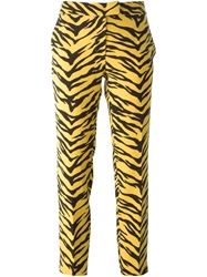 Moschino Cheap And Chic Cropped Tiger Stripe Print Trousers Yellow And Orange