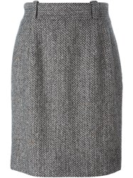 Dolce And Gabbana Vintage Herringbone Tweed Pencil Skirt Black