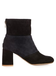 See By Chloe Mila Bi Colour Suede Ankle Boots Black Navy
