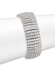 Saks Fifth Avenue Wide Crystal Tennis Bracelet Rhodium