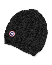 Canada Goose Cable Knit Beanie Hat Black